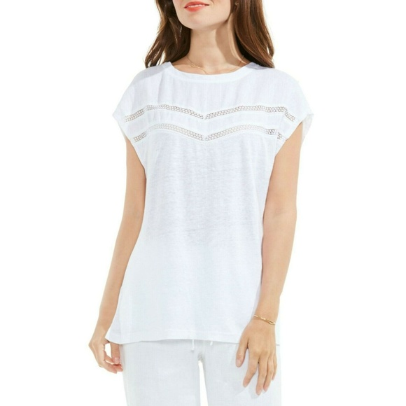 Two by Vince Camuto Tops - Crochet Lace Trim Top Ultra White 100% Linen